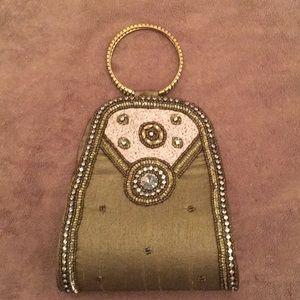 Mini bronze/taupe & beige wristlet evening clutch